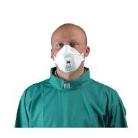 Face mask, breathing protection with stop valve 10/pk