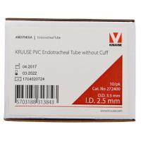 KRUUSE PVC Endotracheal tube 2.5 mm without cuff, 10/pk
