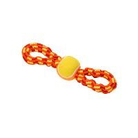 BUSTER Colour Bungee Rope Double Handle w/Tennisball, red/orange/yellow, 28 cm