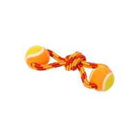 BUSTER Colour Tuggaball Double Tennisball, red/orange/yellow, small, 18 cm