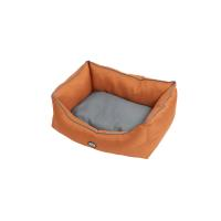 BUSTER sofa bed 70 x 90 cm, leather brown/steel grey