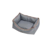 BUSTER sofa bed 70 x 90 cm, steel grey/leather brown piping