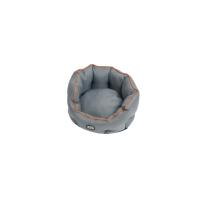 BUSTER Cocoon bed 45 cm, steel grey/leather brown piping