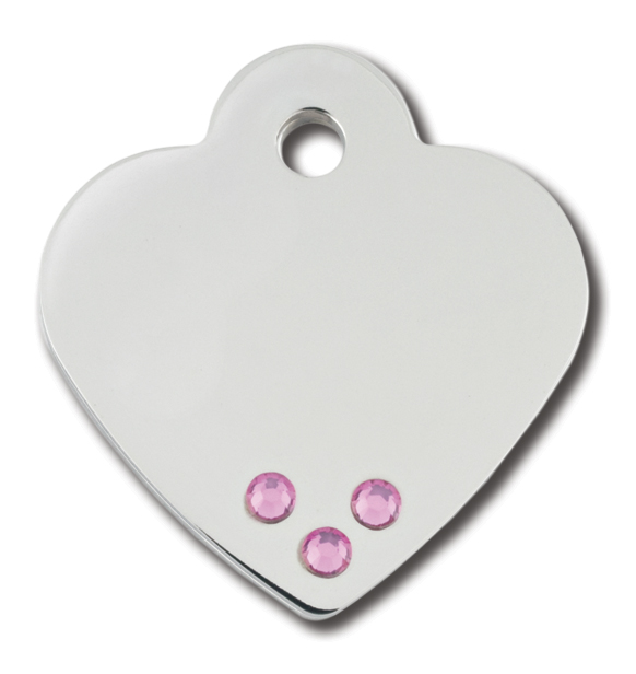 PetScribe tag, Diva Heart small, Chrome w/Pink Crystals, 5 stk.