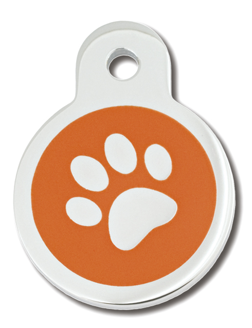 PetScribe tag, Circle small, Epoxy Orange Paw, 5 stk.