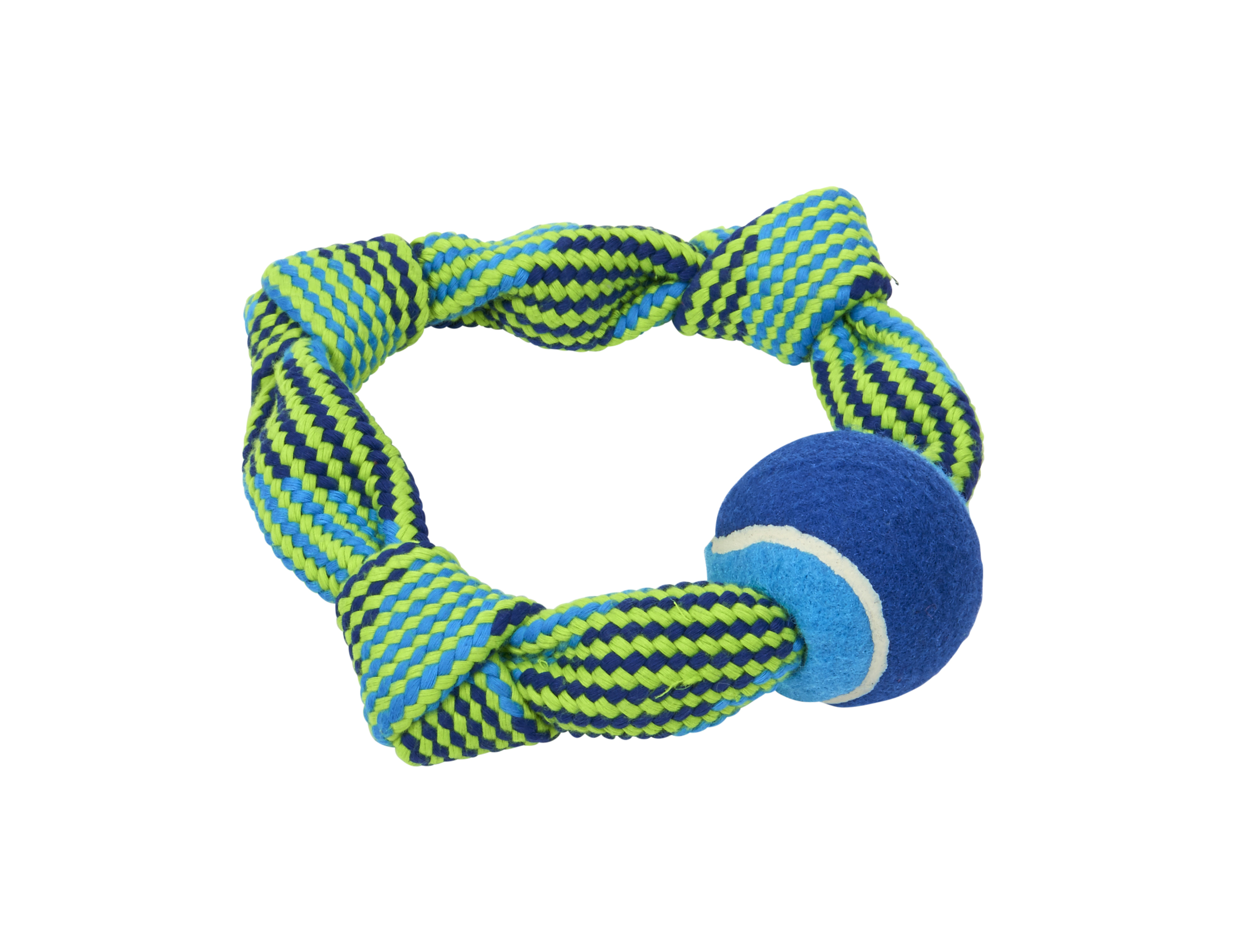BUSTER Colour Squeak Rope Circle w/Tennisball, blue/lime, 20 cm