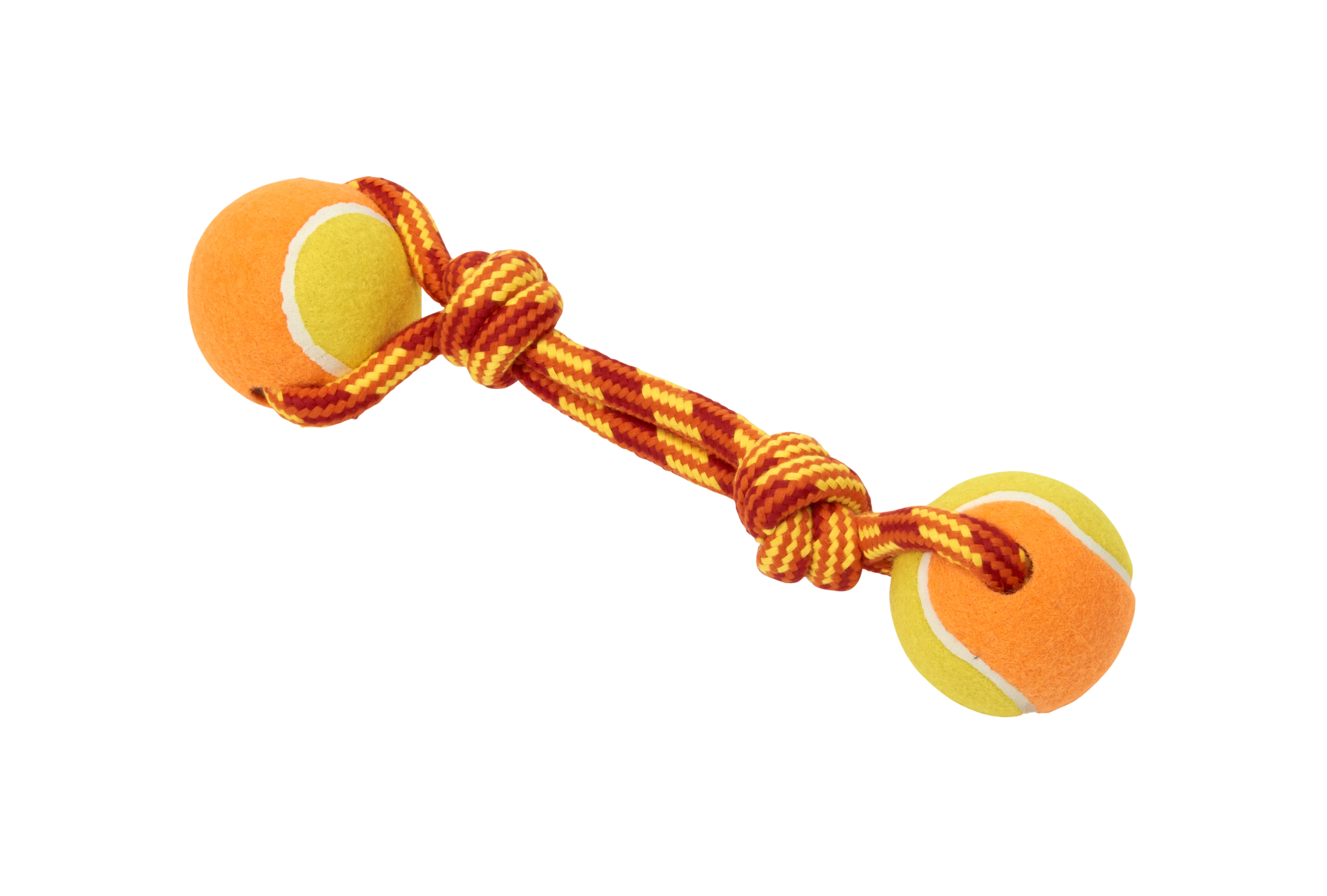 BUSTER Colour Tuggaball Double Tennisball, red/orange/yellow, medium, 23 cm