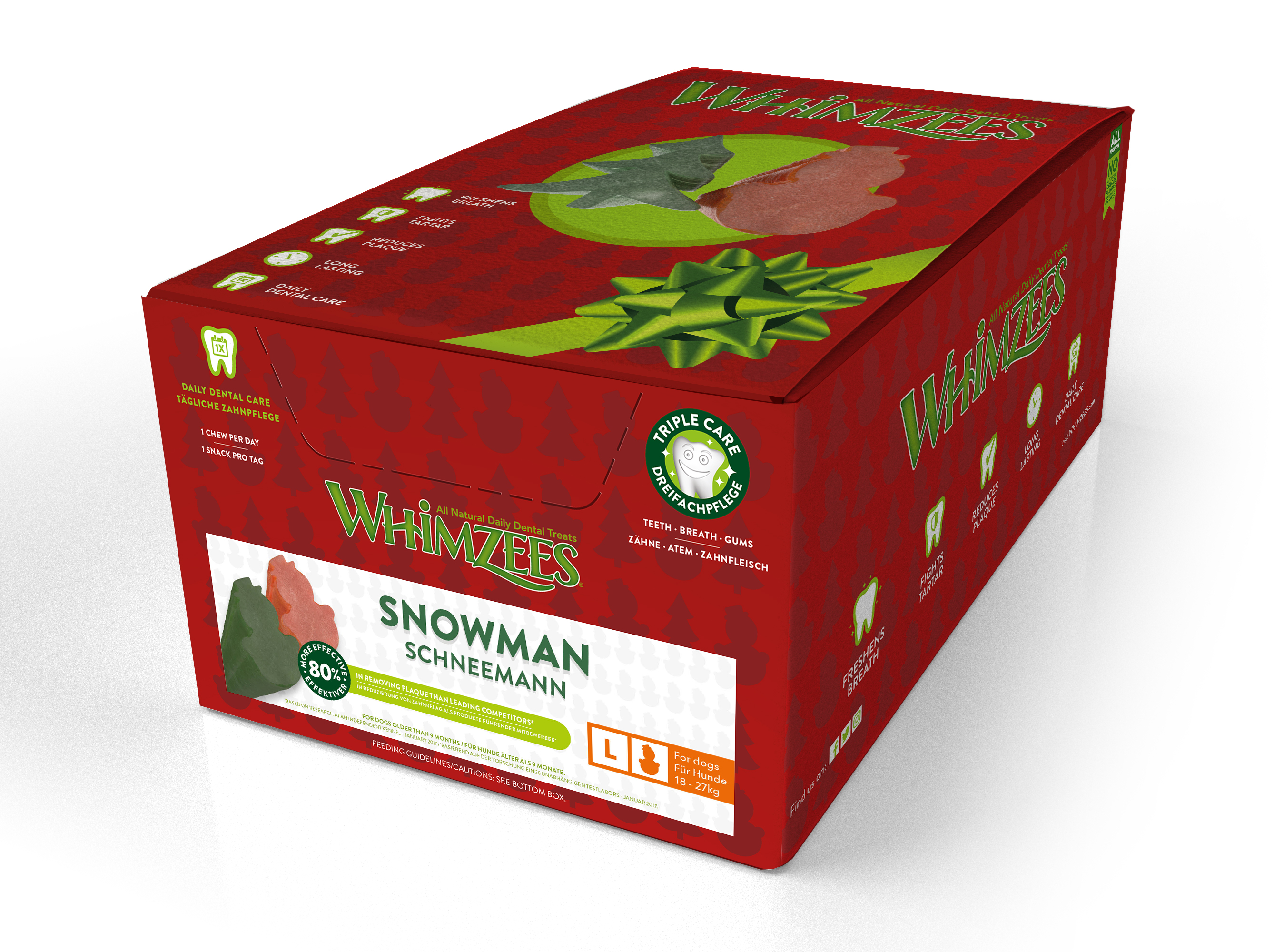 SPAR 20% - WHIMZEES Christmas Box, Snømann, L, display m/50 stk. (WHZ969)